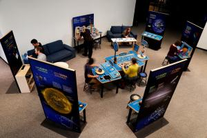 Sun Earth Universe exhibition with visitors